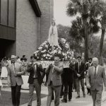 The Blessing of the Fleet ceremony in Brunswick, Georgia, includes parading the patron saint of Portugal (Our Lady of Fatima) around Hanover Square, which adjoins the local Catholic church. Courtesy of Georgia Council for the Arts