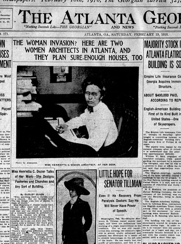 Article featuring Henrietta Dozier in the Atlanta Georgian from 1910
