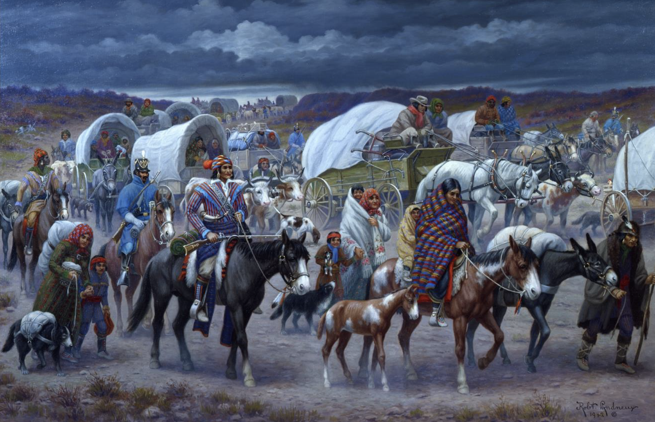 Robert Lindneux, the Trail of Tears, Woolaroc Museum, Bartlesville, Oklahoma, 1942.