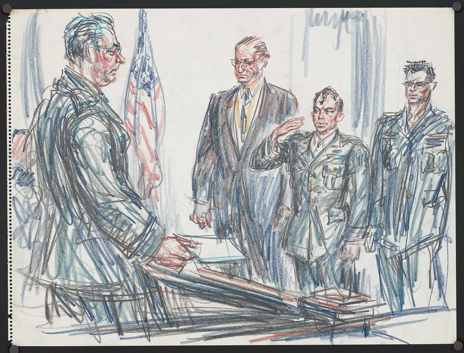 Caricature of William Calley Jr. in court, surrounded by lawyers and military officials.